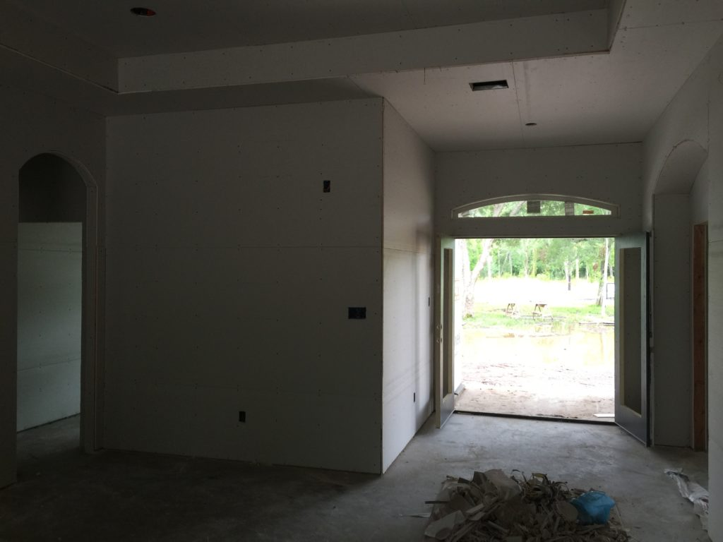 Sheetrock is Hung Front Entry