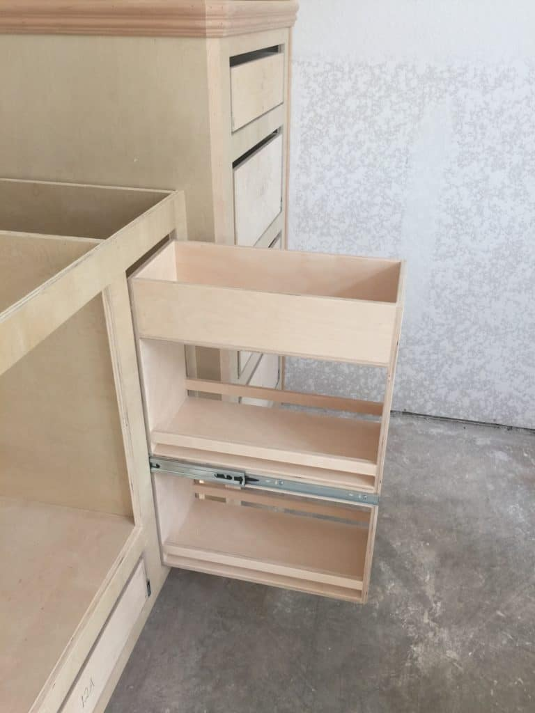 Hidden Hair Product Pullout in Cabinet